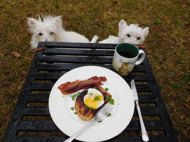 We get the bacon.  My manservant can have the poached egg on toast.